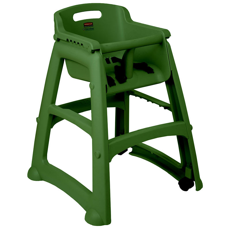 "Rubbermaid FG781408DGRN 29.75"" Stackable High Chair w/ Waist Strap - Plastic, Dark Green"