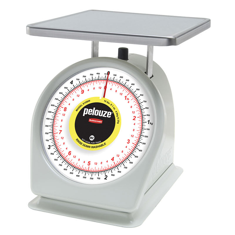 Rubbermaid FG810BW Pelouze Portion Scale - Dial Type, 10-lb x 1-oz, Yellow Lens, Stainless