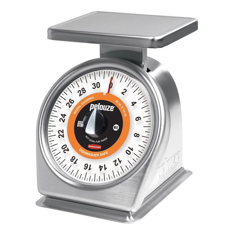 Rubbermaid FG832SRWQ Pelouze Portion Scale - Dial Type, 32-oz x 1/8-oz, Dishwasher Safe, Stainless