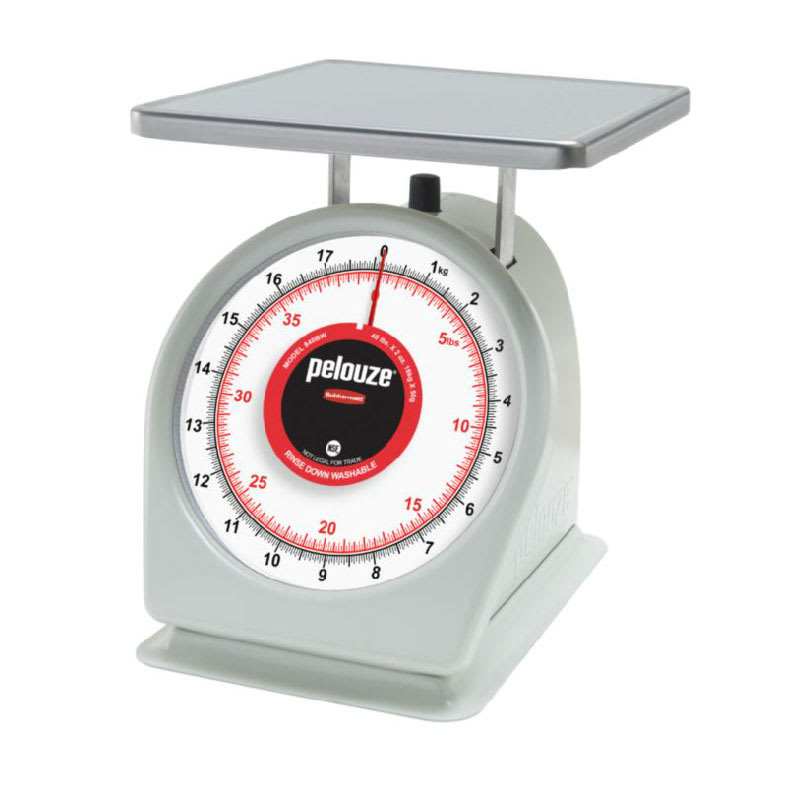 Rubbermaid FG840BW Pelouze Portion Scale - Dial Type, 40-lb x 2-oz/18-kg x 50-g, Red Lens