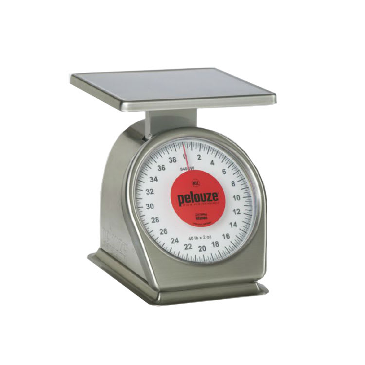 Rubbermaid FG840SW Pelouze Portion Scale - Dial Type, 40-lb x 2-oz, Red Lens, Stainless