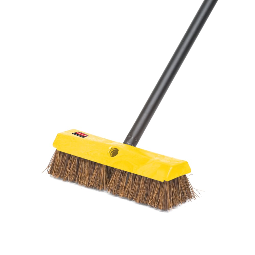 "Rubbermaid FG9B3400 BRN 10"" Deck Brush - Plastic Block, Palmyra Fill, Brown"
