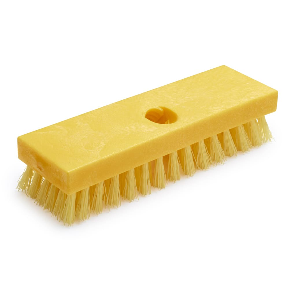 "Rubbermaid FG9B3600 YEL 8"" Deck Brush - Plastic Block, Poly Fill, Yellow"