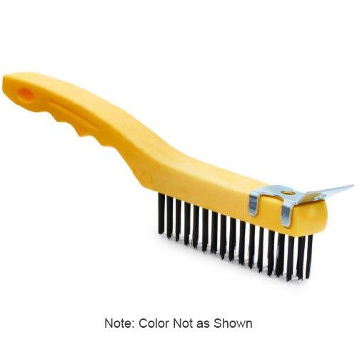 """Rubbermaid FG9B4200 GRAY 11"""" Wire Brush with Scraper - Short Angular Handle, Gray"""