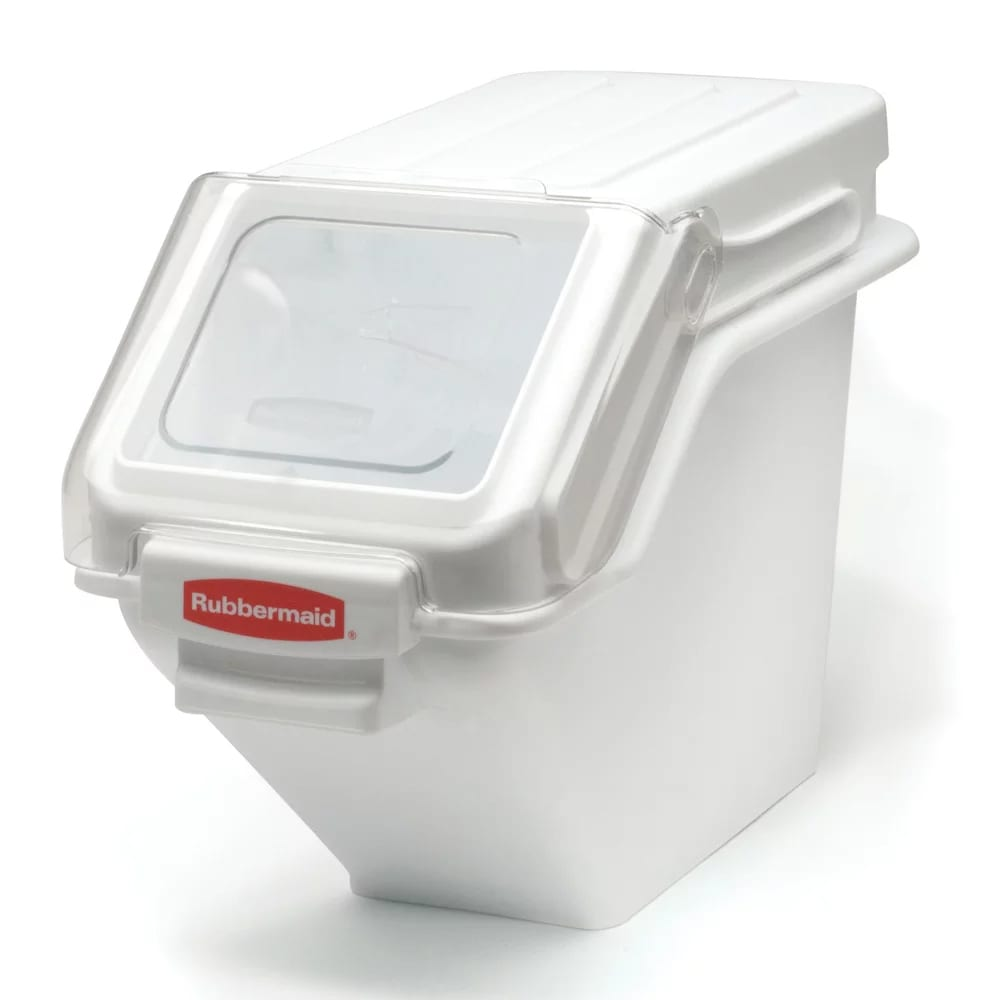 "Rubbermaid FG9G5700 WHT ProSave Safety Storage Bin with Scoop - 100 cup Capacity, 23.5x11.5x16.8"" White"