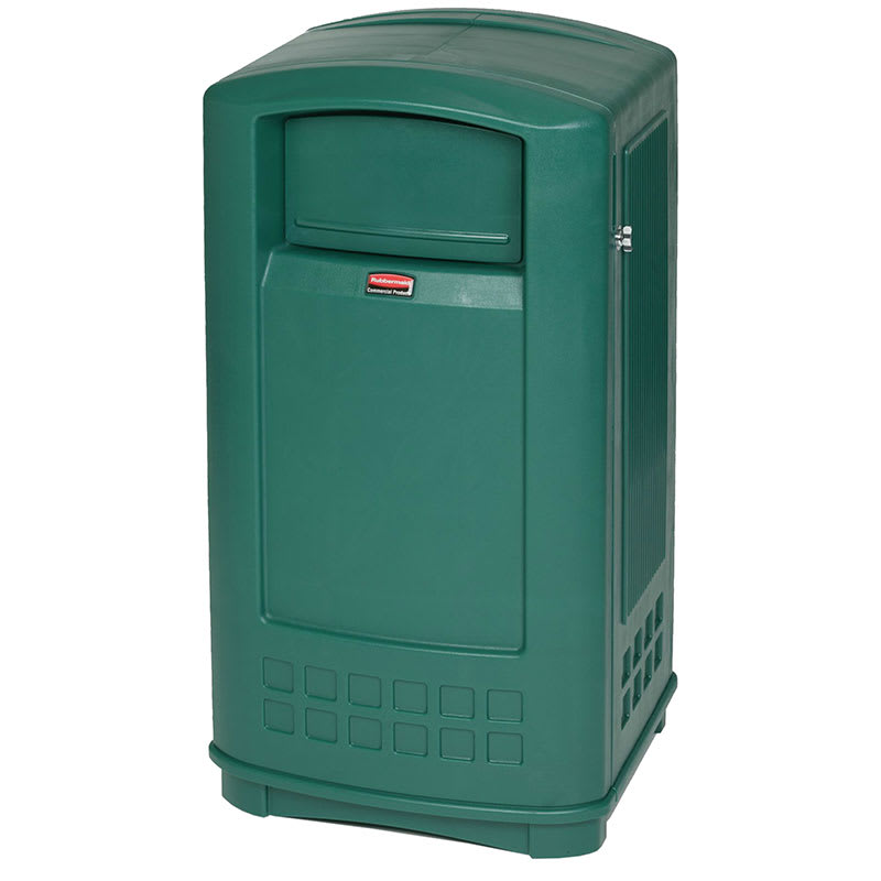 Rubbermaid FG9P9000DGRN 35 gal Outdoor Decorative Trash Can - Plastic, Dark Green