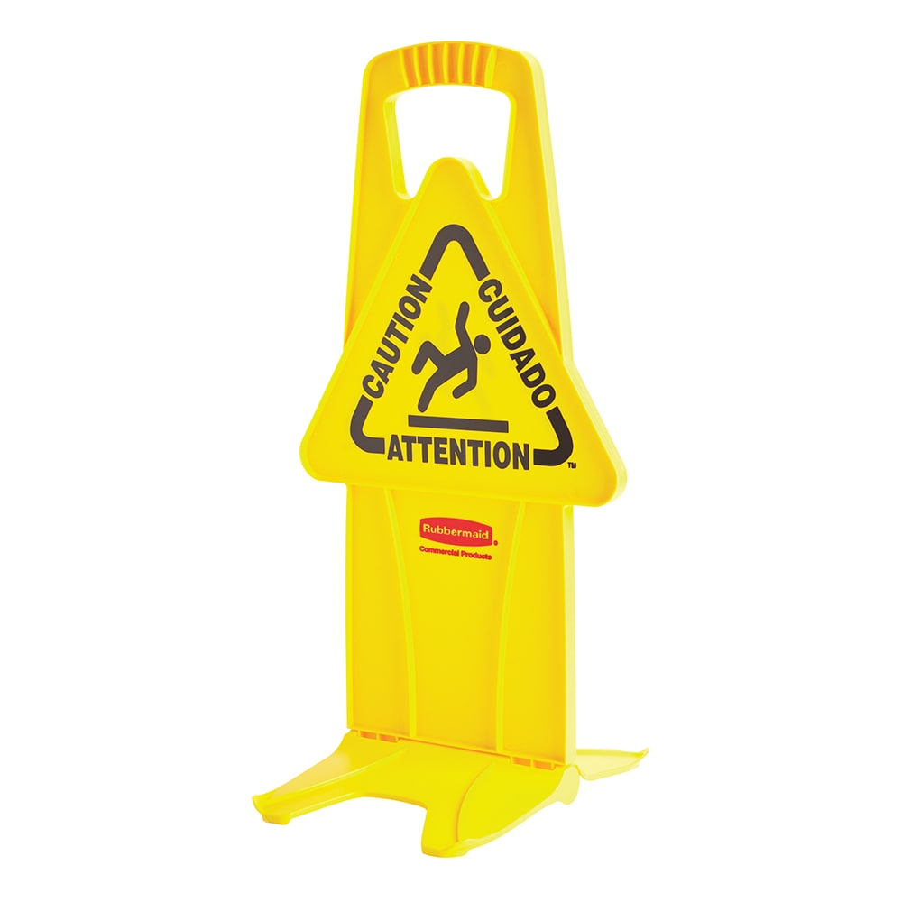 "Rubbermaid FG9S09DPYEL 13"" Stable Caution Safety Sign - Multi-Lingual, Triangular, Yellow"