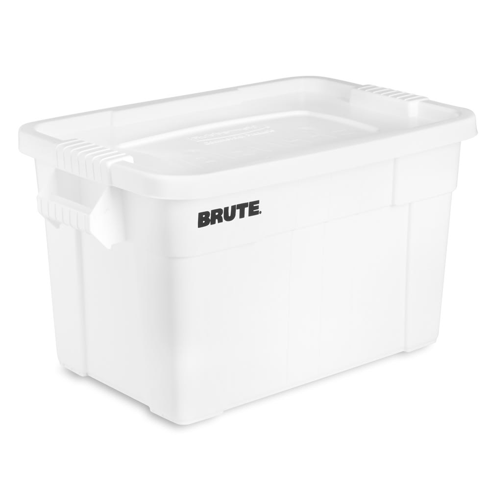 Rubbermaid FG9S3100 WHT 20 gal BRUTE Tote with Lid - White