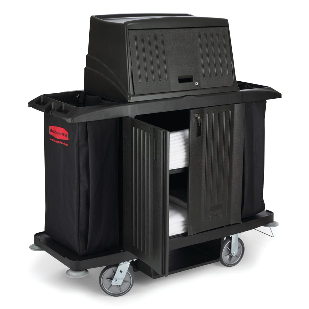 "Rubbermaid FG9T1900 BLA Housekeeping Cart w/ Vacuum Holder, 60""L x 22""W x 67.5""H, Black"