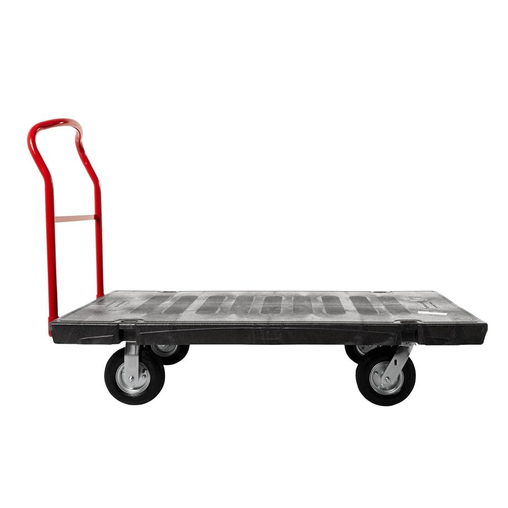 """Rubbermaid FG9T2100 BLA 2000-lb Platform Truck w/ Tie Downs, 70""""L x 40""""W"""