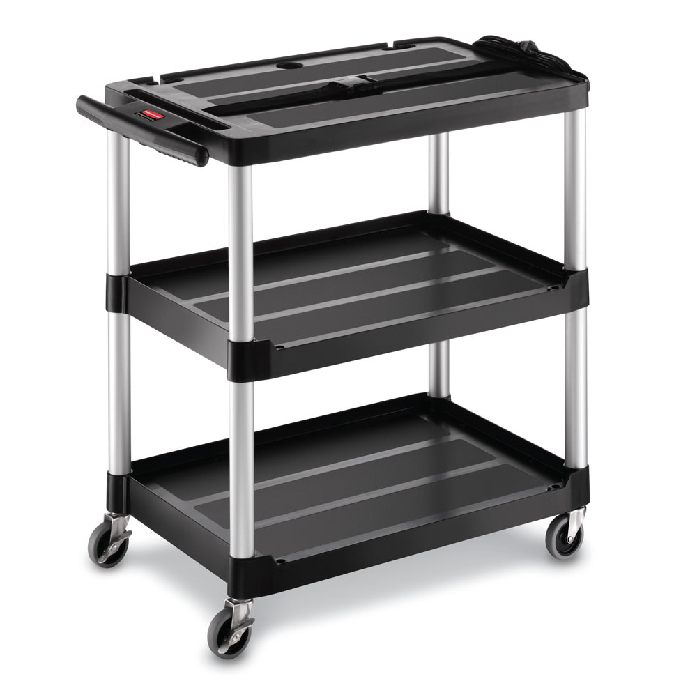 Rubbermaid FG9T2800 BLA 3 Level Media Cart w/ 150 lb Capacity & 10 ft Cord
