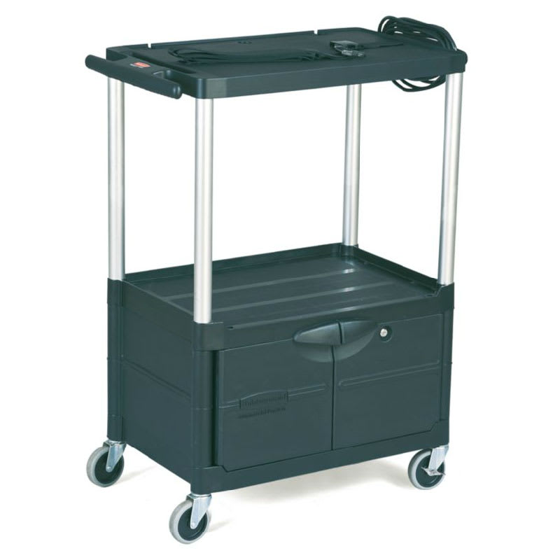 Rubbermaid FG9T3200 BLA 3 Level Media Cart w/ 200 lb Capacity & 10 ft Cord
