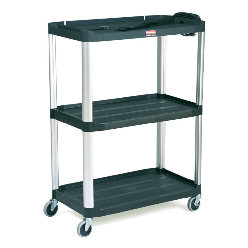 Rubbermaid FG9T3300 BLA 3-Level Media Cart w/ 300-lb Capacity & 10-ft Cord