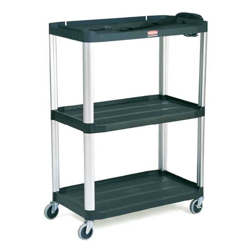Rubbermaid FG9T3300 BLA 3 Level Media Cart w/ 300 lb Capacity & 10 ft Cord