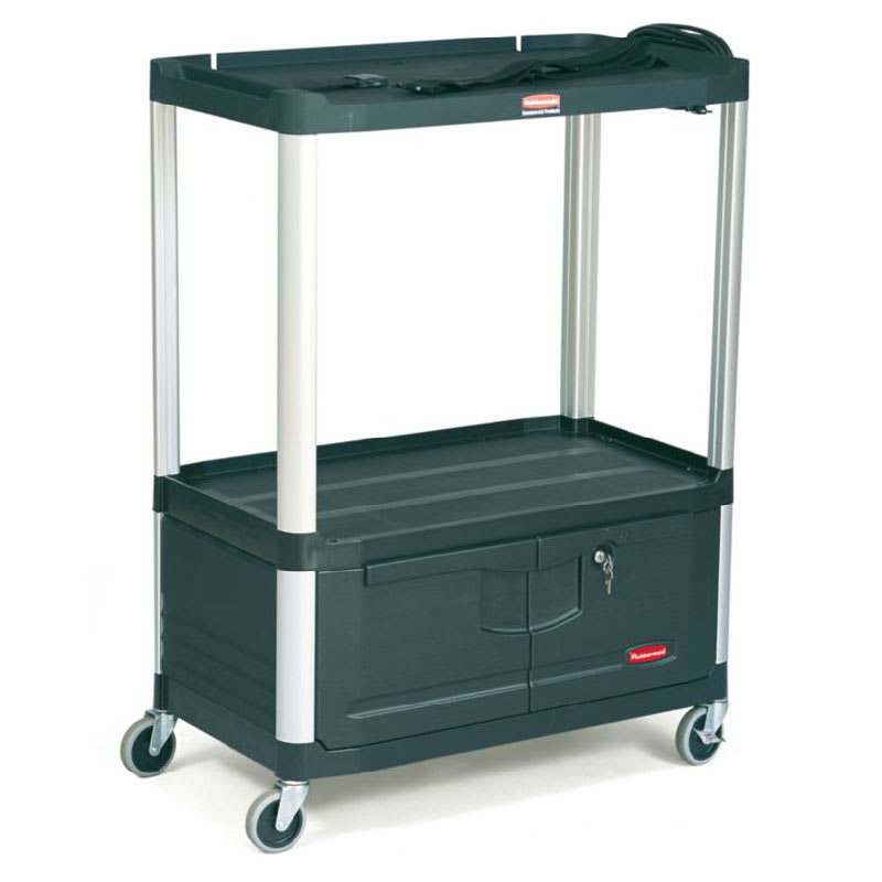 Rubbermaid FG9T3400 BLA 3-Shelf Audio-Visual Cart with Cabinet - 300-lb Capacity, Power Strip, Black
