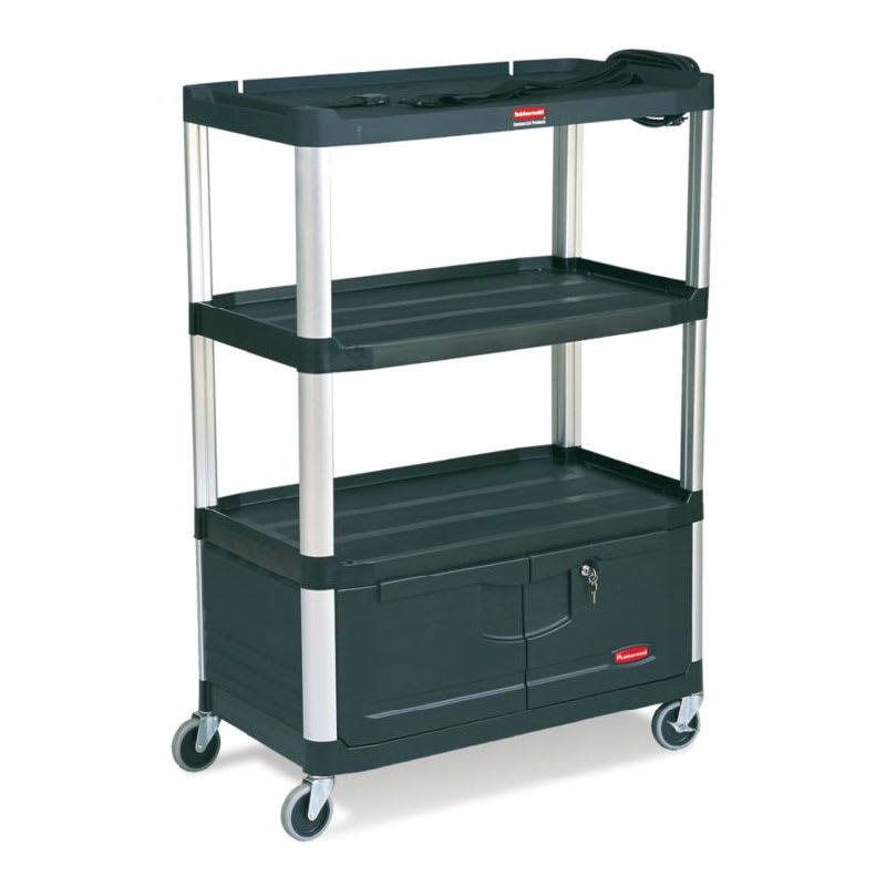 Rubbermaid FG9T3500 BLA 3 Level Media Cart w/ 300 lb Capacity & 10 ft Cord