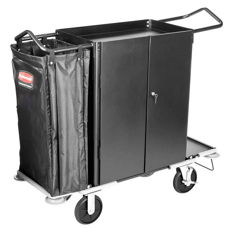 Rubbermaid FG9T5900 BLA Cruise Narrow Housekeeping Cart - 3-Shelf, 10 cu ft Capacity, Black