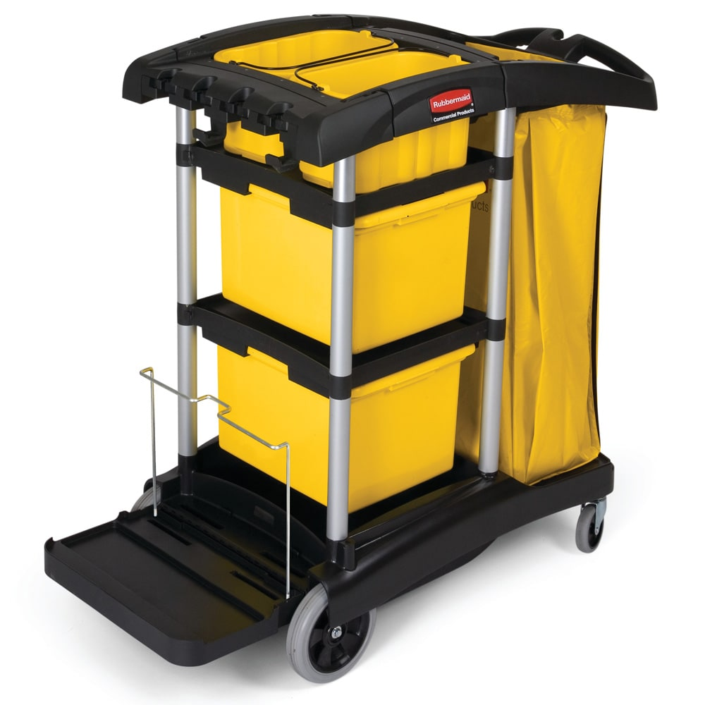 Rubbermaid FG9T7300 BLA Janitor Cart w/ Tub Accommodation, Black/Yellow