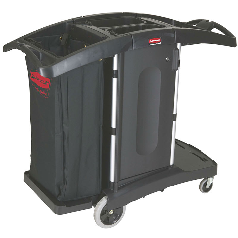 "Rubbermaid FG9T7600 BLA Compact Housekeeping Cart w/ Locking Doors, 51.75""L x 22""W x 44""H, Black"