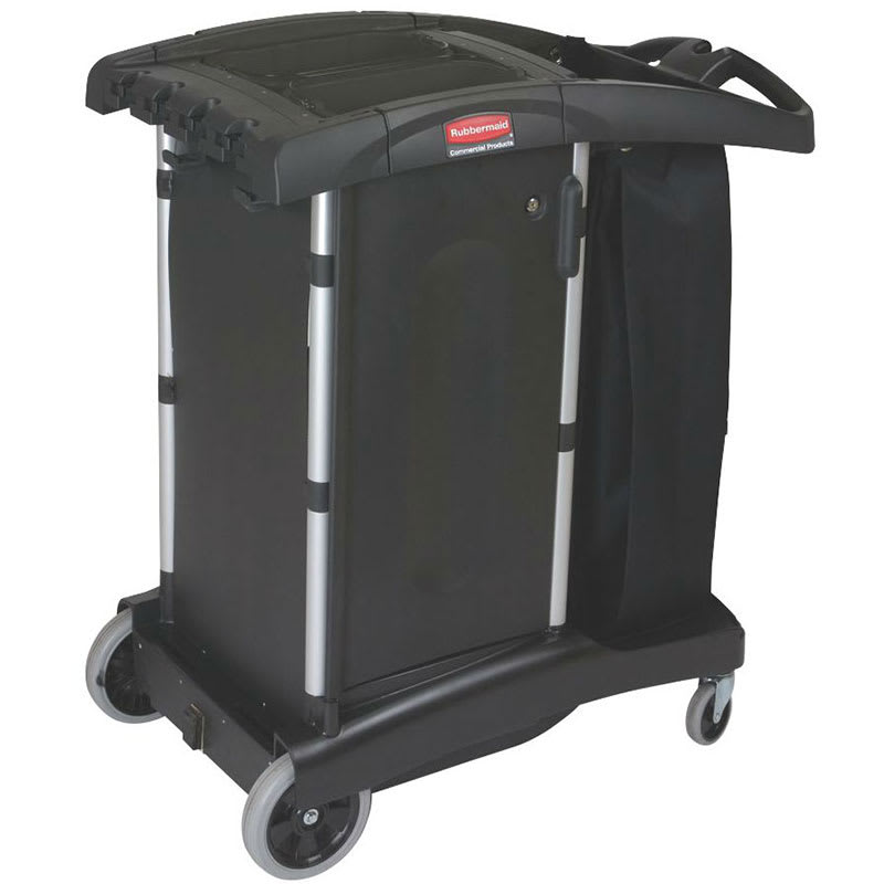 "Rubbermaid FG9T7700 BLA Housekeeping Cart w/ Locking Doors, 38.25""L x 22""W x 44""H, Black"