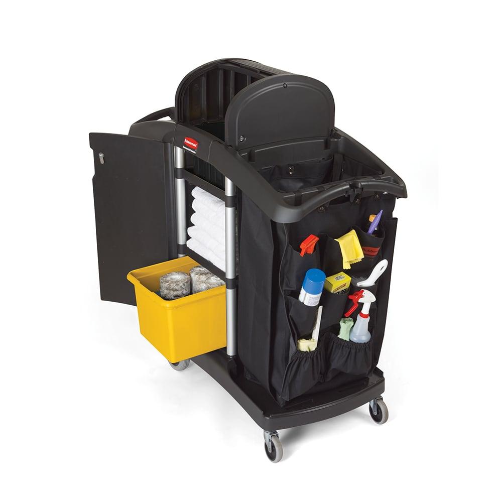 "Rubbermaid FG9T7800 BLA Compact Housekeeping Cart w/ Locking Doors, 51.75""L x 22""W x 53.5""H, Black"