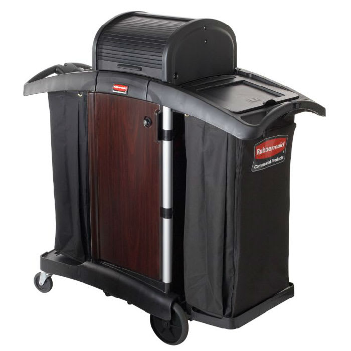 Rubbermaid FG9T9500 BLA High Security Wood Panel Compact Housekeeping Cart