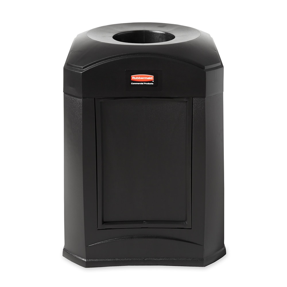 Rubbermaid FG9W0200 BLA 35-gal Landmark Funnel Top Trash Container - Panel Frame, Rigid Liner, Black