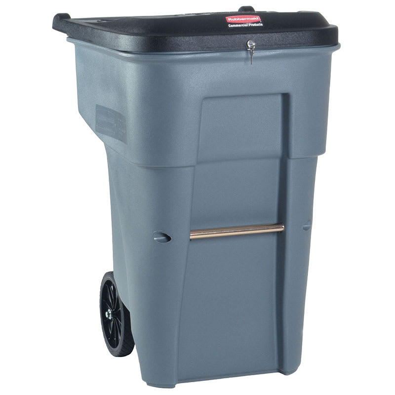"Rubbermaid FG9W1188 GRAY 95 gal Confidential Document Wheeled Trash Can - 45.6 H x 27.3 W x 35.4""-L, Gray"