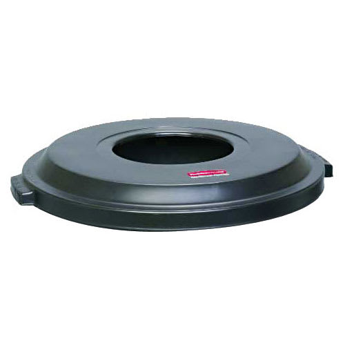 Rubbermaid FG9W1300 BLA Round Funnel Trash Can Lid - Plastic, Black