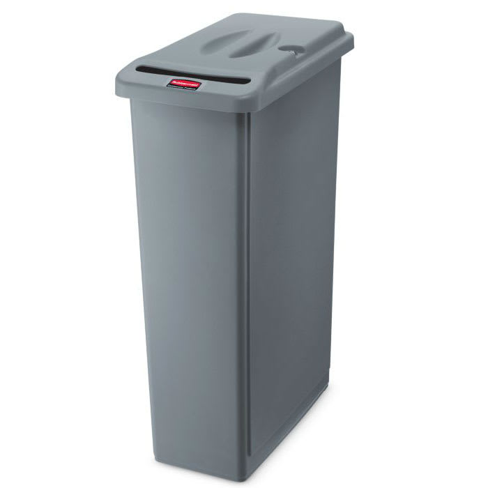 "Rubbermaid FG9W1500LGRAY 23-gal Rectangle Slim Trash Can, 20""L x 11""W x 31""H, Gray"