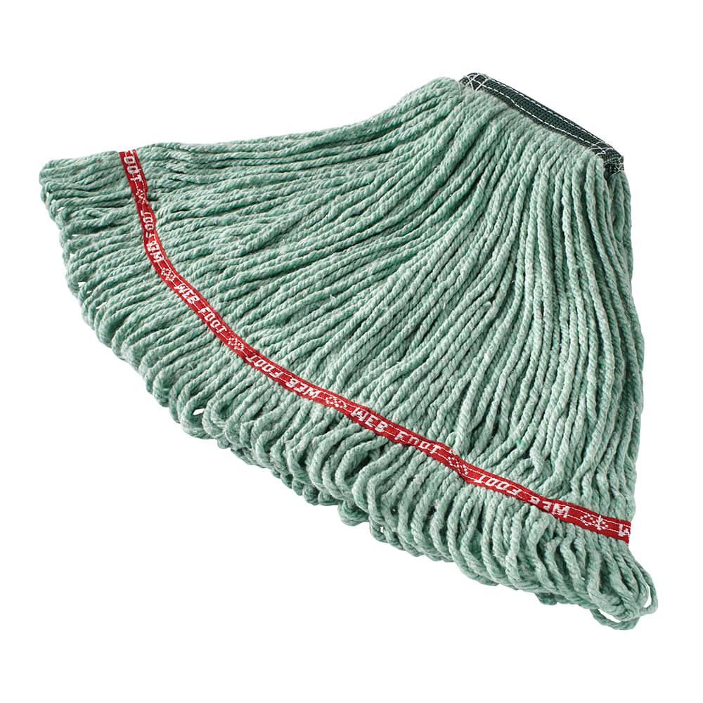"Rubbermaid FGA11206GR00 Medium Wet Mop Head - 1"" Headband, Cotton/Synthetic Blend, Green"