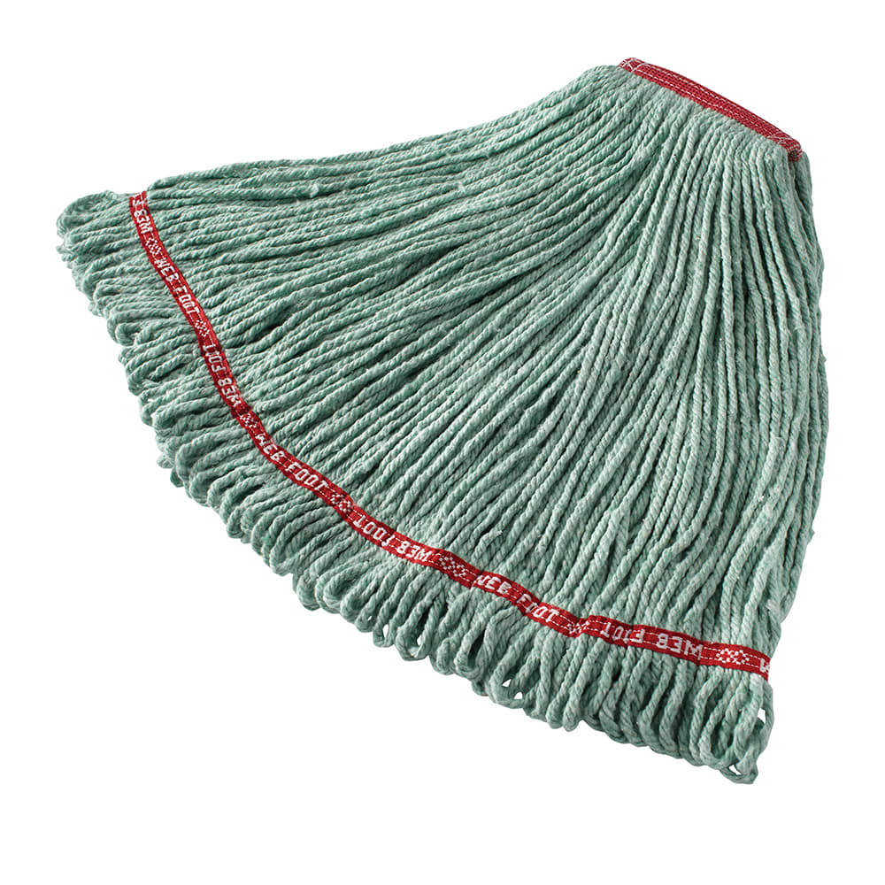 "Rubbermaid FGA11306GR00 Large Wet Mop Head - 1"" Headband, Cotton/Synthetic Blend, Green"