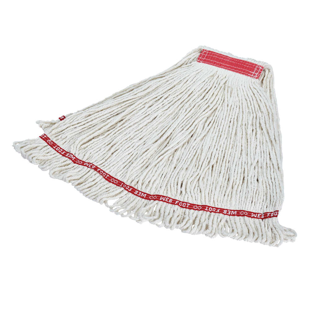 "Rubbermaid FGA11306WH00 Large Wet Mop Head - 1"" Headband, Cotton/Synthetic Blend, White"