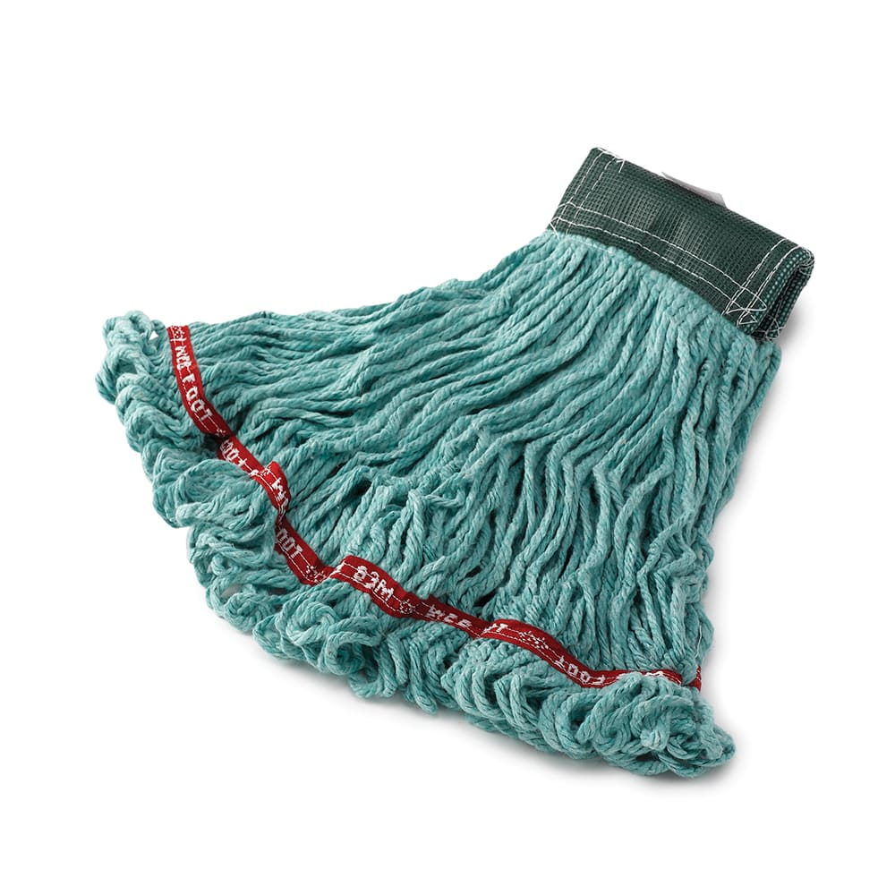 "Rubbermaid FGA15206GR00 Medium Wet Mop Head - 5"" Headband, Cotton/Synthetic Blend, Green"