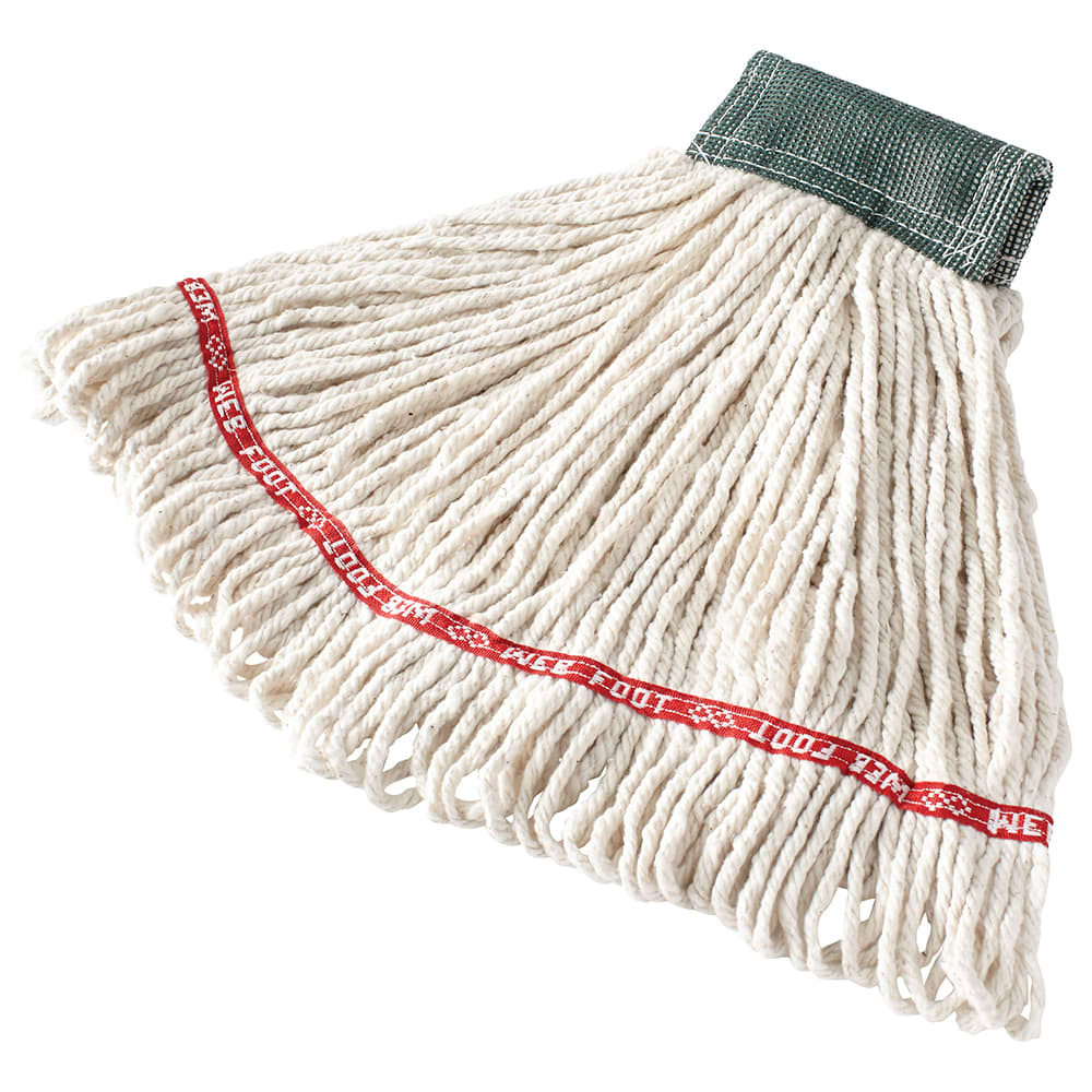 "Rubbermaid FGA15206WH00 Medium Wet Mop Head - 5"" Headband, Cotton/Synthetic Blend, White"