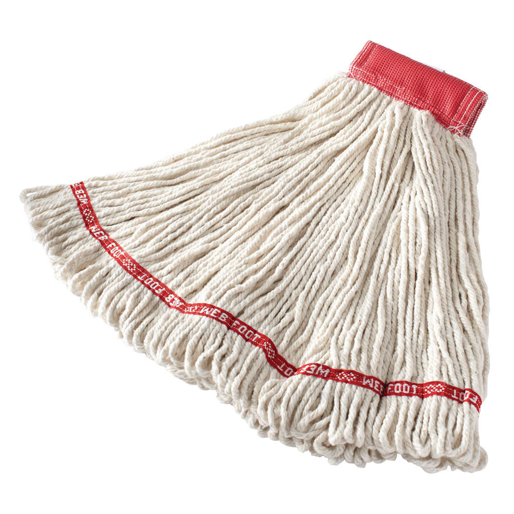 "Rubbermaid FGA15306WH00 Large Wet Mop Head - 5"" Headband, Cotton/Synthetic Blend, White"