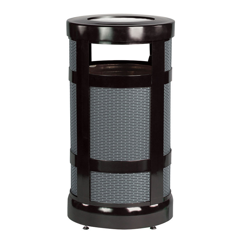 Rubbermaid FGA17SUBKPL 17 gal Architek Waste Receptacle - Radius Urn Top, Black/Anthracite