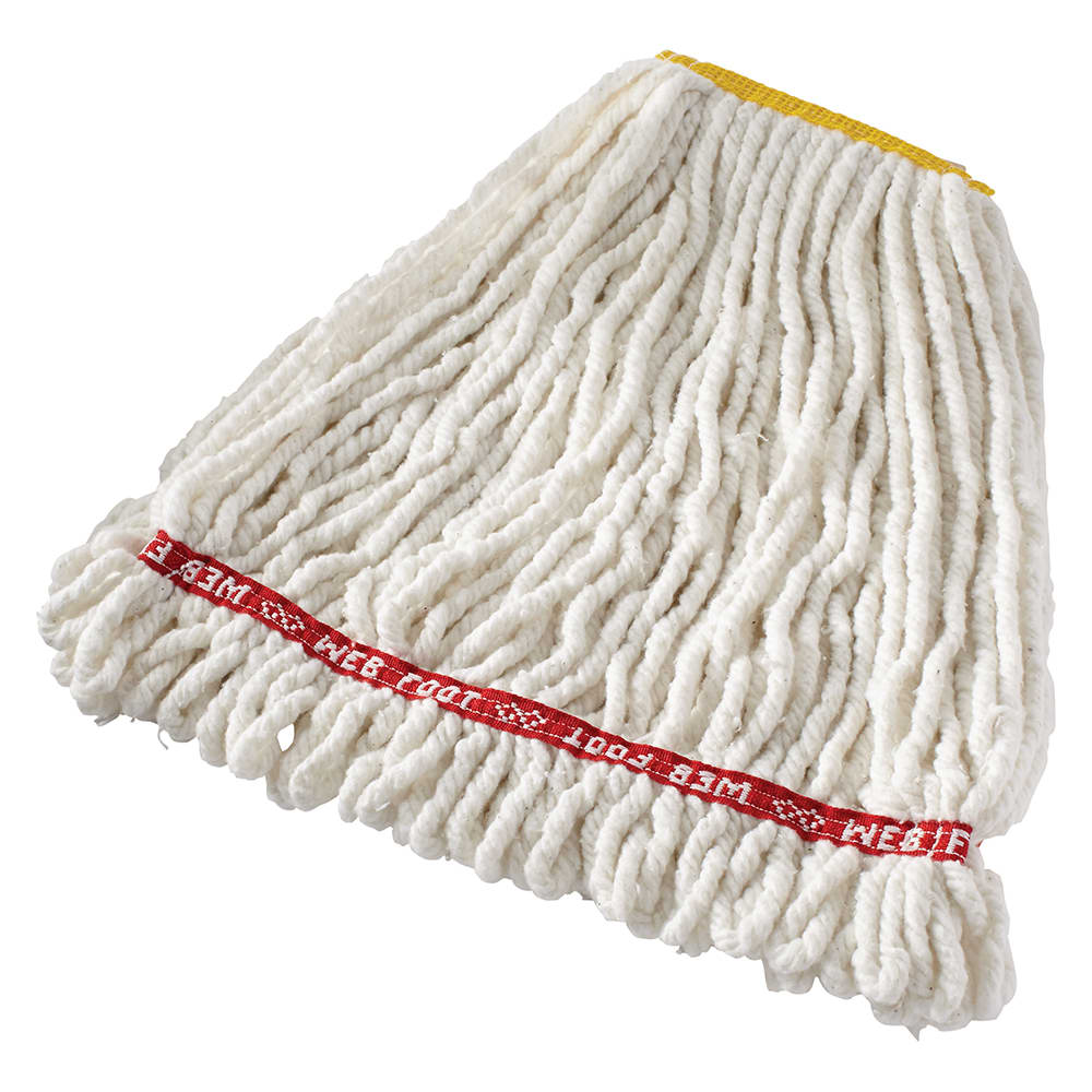 """Rubbermaid FGA21106WH00 Small Wet Mop Head - 1"""" Headband, 4 Ply Cotton/Synthetic Blend, White"""