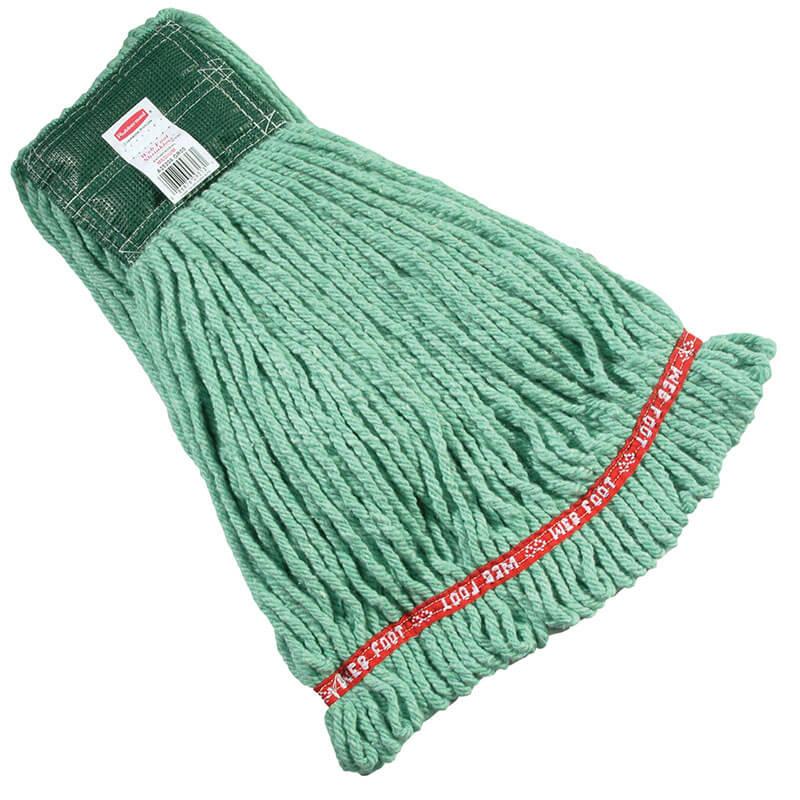 "Rubbermaid FGA21206GR00 Medium Wet Mop Head - 1"" Headband, 4-Ply Cotton/Synthetic Blend, Green"