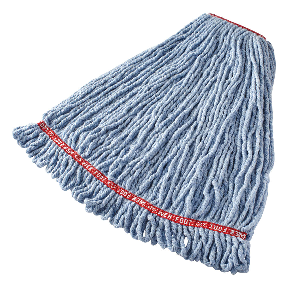 "Rubbermaid FGA21306BL00 Large Wet Mop Head - 1"" Headband, 4 Ply Cotton/Synthetic Blend, Blue"