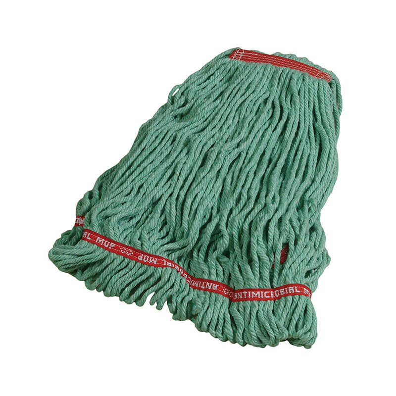 "Rubbermaid FGA21306GR00 Large Wet Mop Head - 1"" Headband, 4-Ply Cotton/Synthetic Blend, Green"