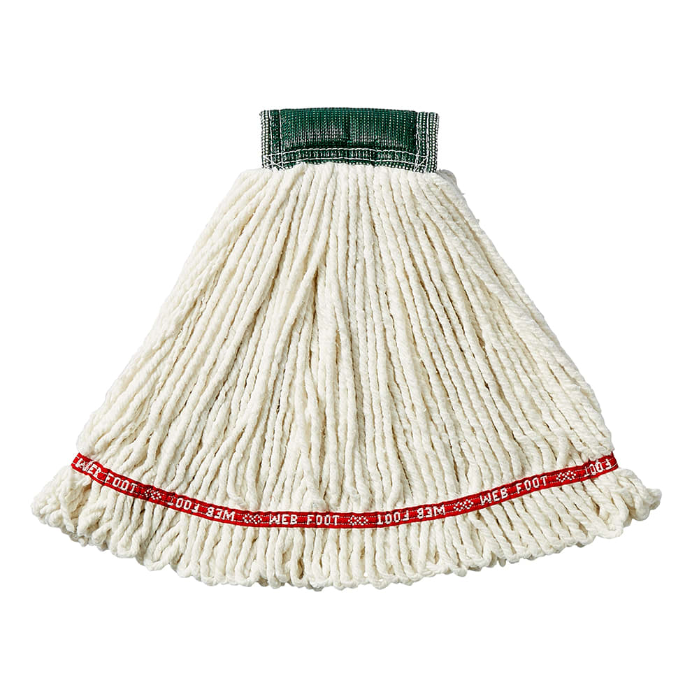 "Rubbermaid FGA25206WH00 Medium Wet Mop Head - 5"" Headband, 4-Ply Cotton/Synthetic Blend, White"