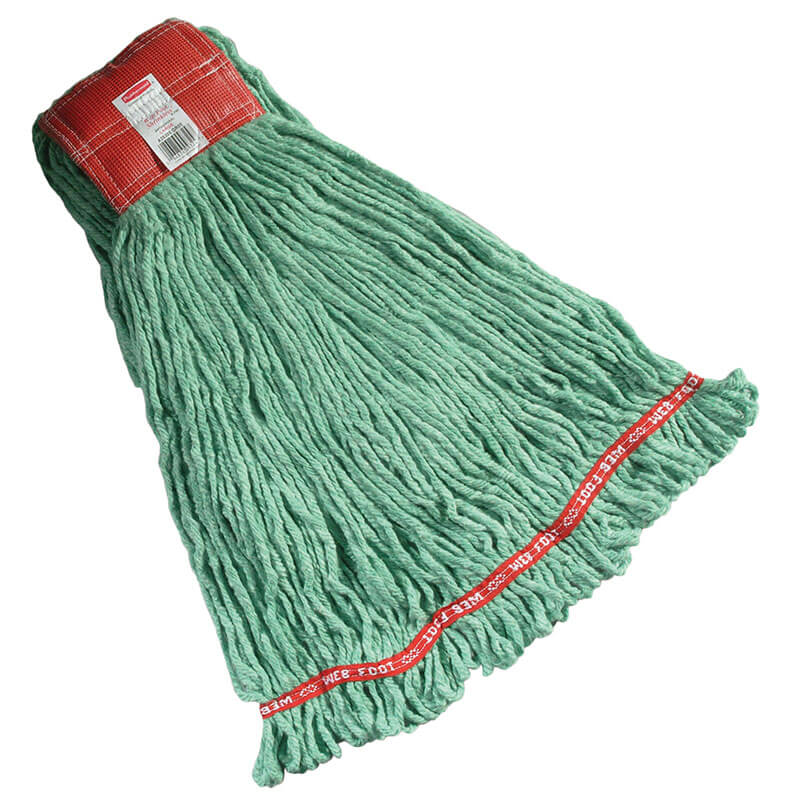 """Rubbermaid FGA25306GR00 Large Wet Mop Head - 5"""" Headband, 4-Ply Cotton/Synthetic Blend, Green"""