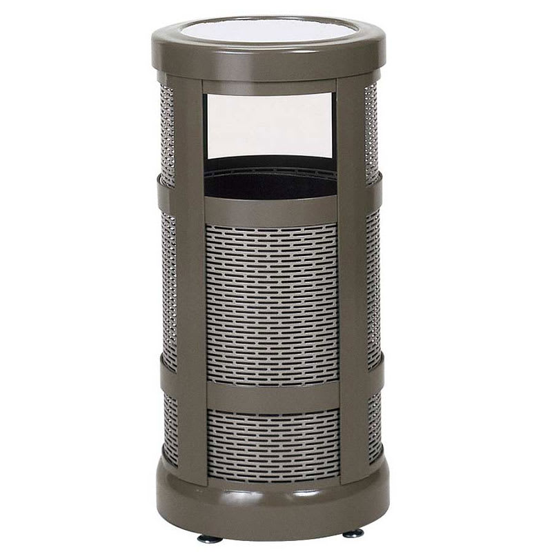 Rubbermaid FGA51SUABZPL 5-gal Architek Waste Receptacle - Canopy Hinged Urn Top, Bronze/Sand