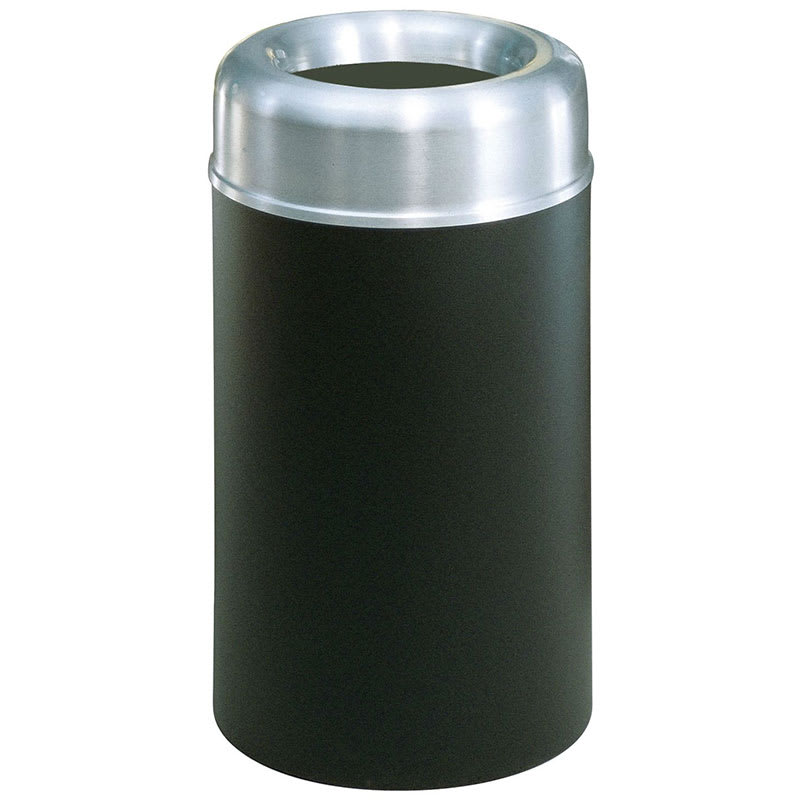 Rubbermaid FGAOT30SABKPL 30-gal Indoor Decorative Trash Can - Metal, Black