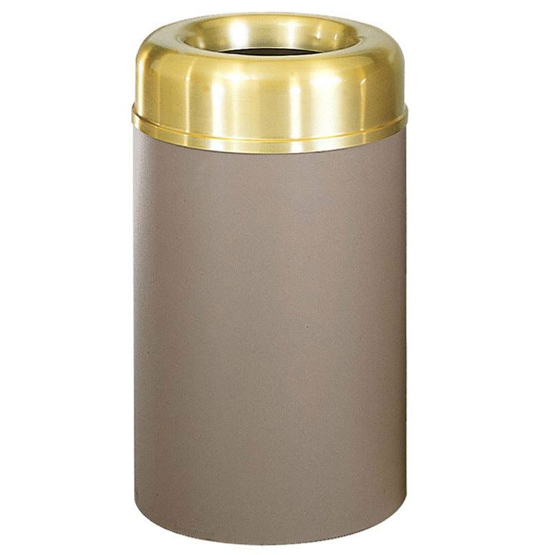 Rubbermaid FGAOT30SBBRPL 30-gal Indoor Decorative Trash Can - Metal, Brown