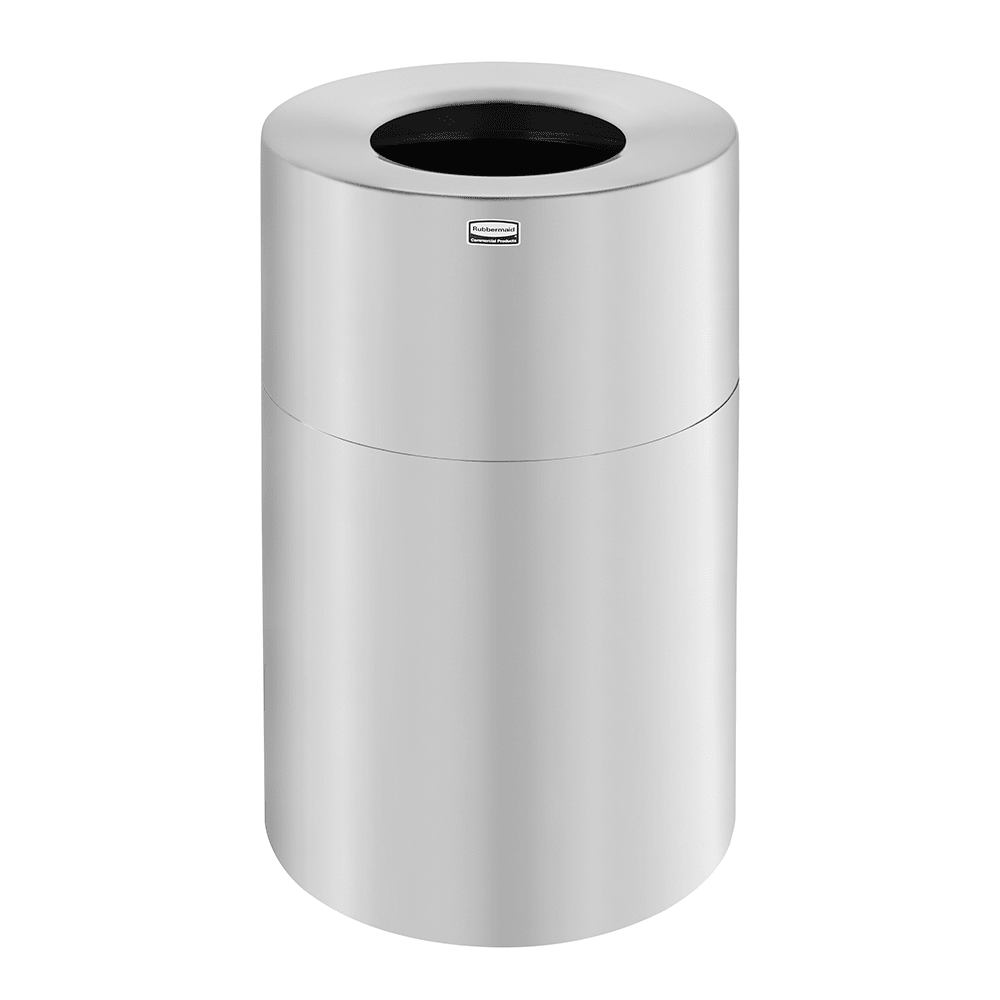 Rubbermaid FGAOT62SA 62 gal Indoor Decorative Trash Can - Metal, Satin Aluminum