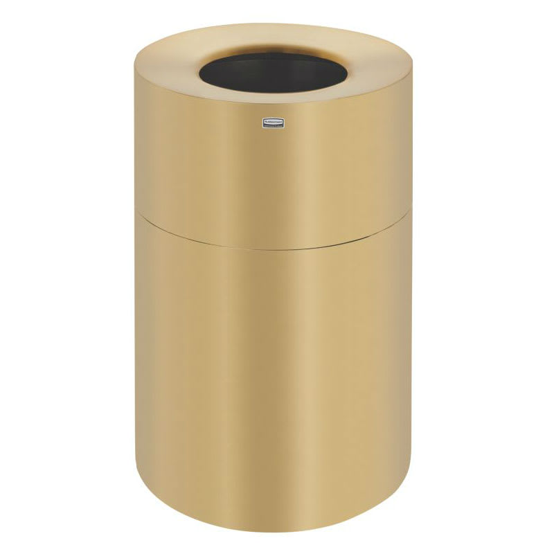 Rubbermaid FGAOT62SB 62-gal Indoor Decorative Trash Can - Metal, Satin Brass Aluminum