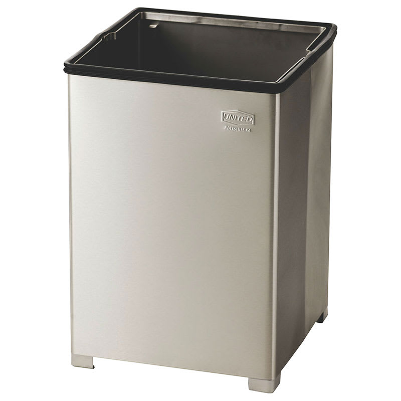 Rubbermaid FGB1414SSRB 14 gallon Commercial Trash Can - Metal, Square