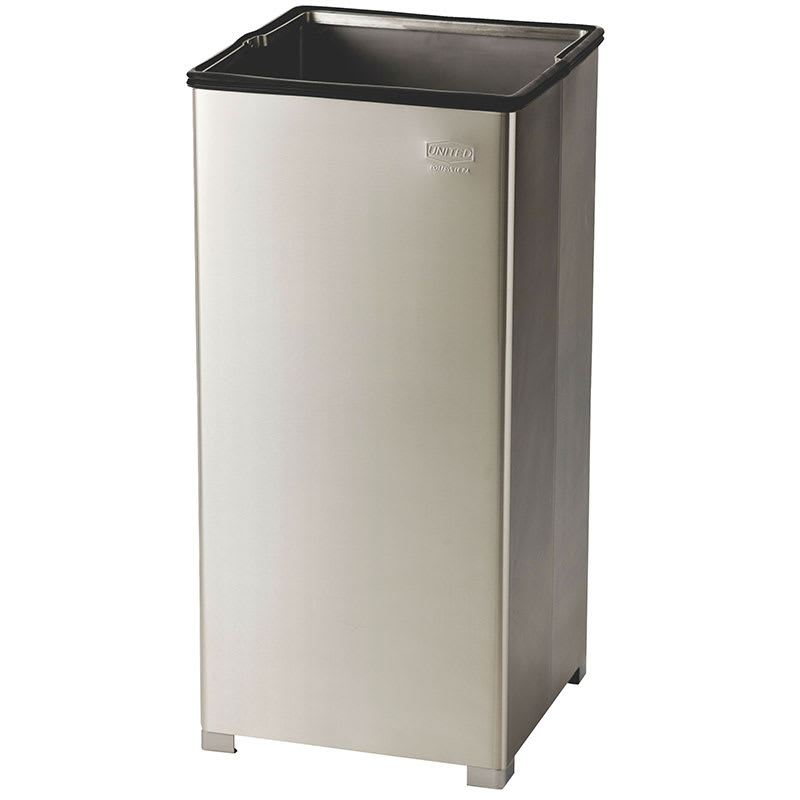 Rubbermaid FGB1424SSPL 16 gallon Commercial Trash Can - Metal, Square